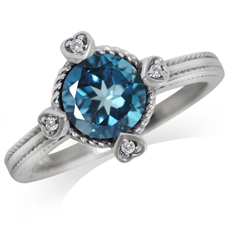 1.55ct. Genuine London Blue & White Topaz 925 Sterling Silver Petite Hearts Ring