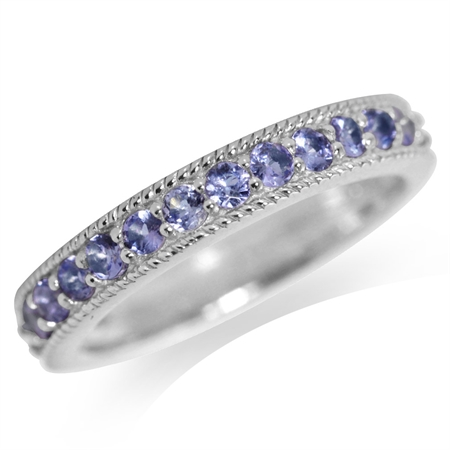 Genuine Tanzanite White Gold Plated 925 Sterling Silver Journey Ring