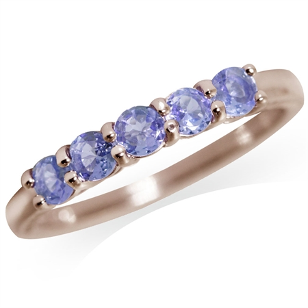 5-Stone Genuine Tanzanite Rose Gold Plated 925 Sterling Silver Stack/Stackable Ring