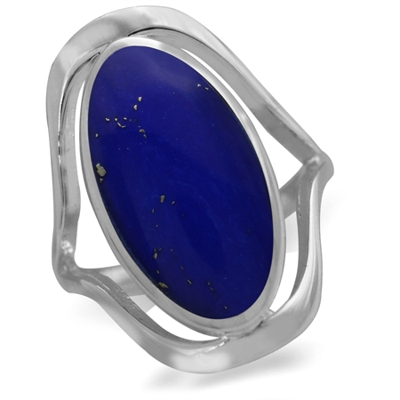 Created Lapis 925 Sterling Silver Simple Southwest Style Ring