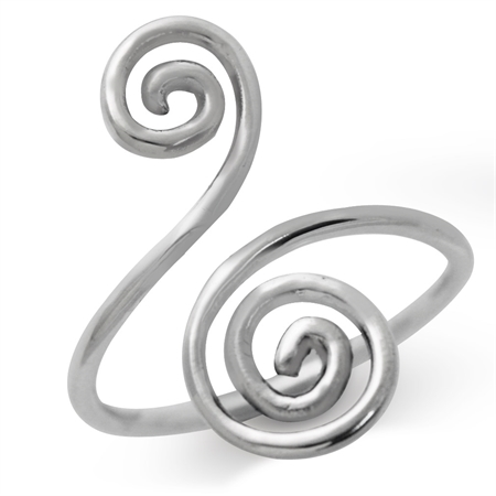 925 Sterling Silver Swirl & Spiral Ring