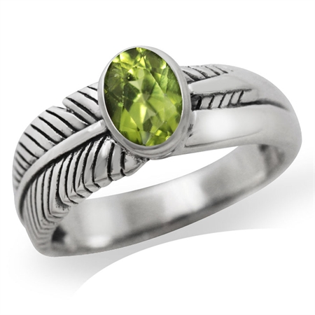 Natural Peridot 925 Sterling Silver LEAF Ring