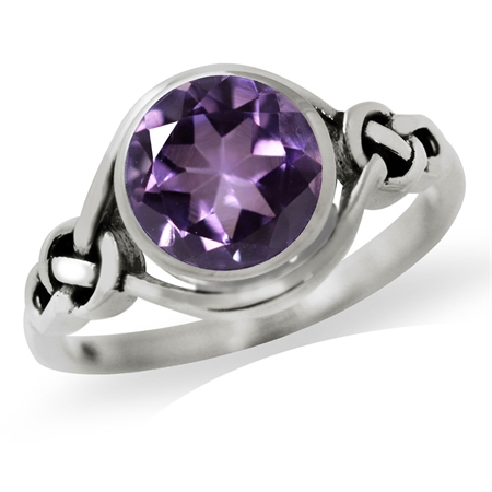 1.66ct. Natural Amethyst 925 Sterling Silver Celtic Knot Solitaire Ring