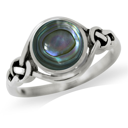 Abalone/Paua Shell Inlay 925 Sterling Silver Celtic Knot Solitaire Ring