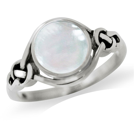 White Mother of Pearl (MOP) 925 Sterling Silver Celtic Knot Solitaire Ring