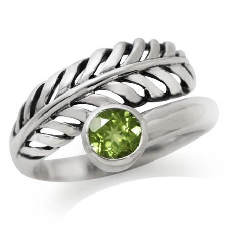 Natural Peridot 925 Sterling Silver Leaf Filigree Ring