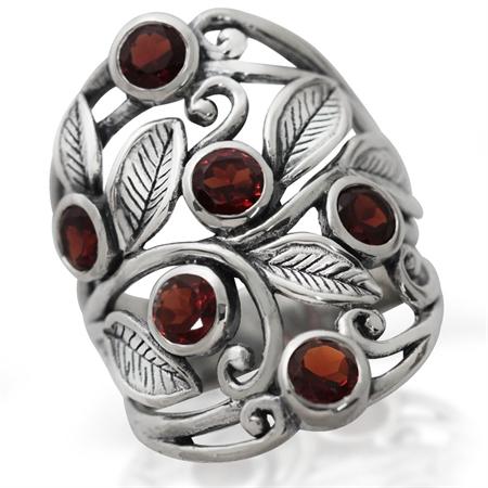 2.16ct. Natural Garnet 925 Sterling Silver Filigree Leaf Ring