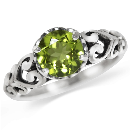 1.34ct. Natural Peridot 925 Sterling Silver Victorian Style Solitaire Ring