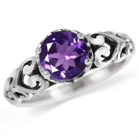 1.19ct. Natural Amethyst 925 Sterling Silver Victorian Style Solitaire Ring