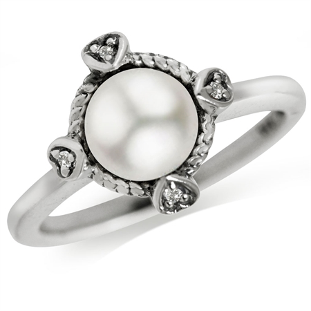 7MM Cultured White Pearl & White Topaz 925 Sterling Silver Petite Hearts Ring