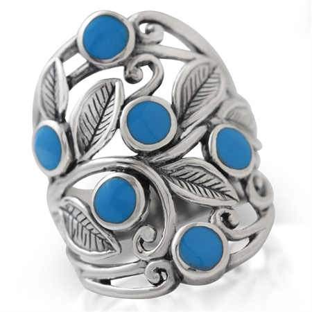 Created Blue Turquoise 925 Sterling Silver Filigree Leaf Ring