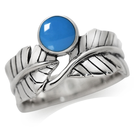 Created Blue Turquoise 925 Sterling Silver BANANA LEAF Ring