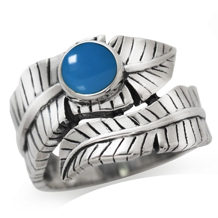 Created Blue Turquoise 925 Sterling Silver Bypass BANANA LEAF Ring