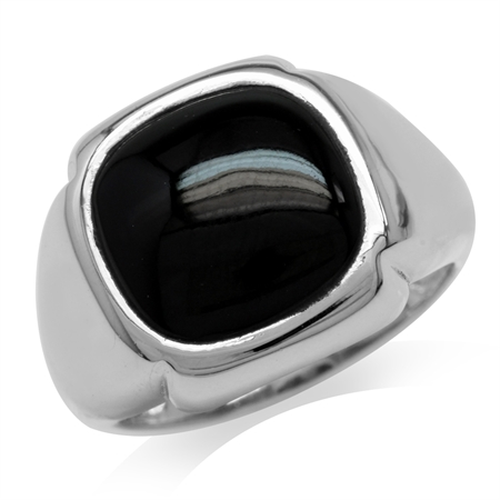 Created Black Onyx 925 Sterling Silver Modern Bold Ring