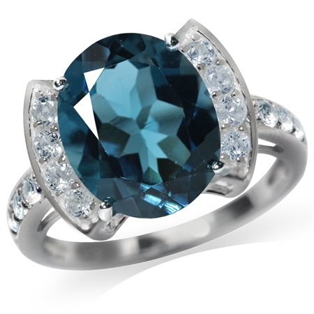 5.33ct. Genuine London & Blue Topaz White Gold Plated 925 Sterling Silver Cocktail Ring