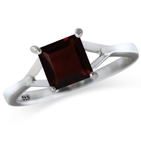 1.33ct. Square Shape Natural Garnet 925 Sterling Silver Solitaire Ring
