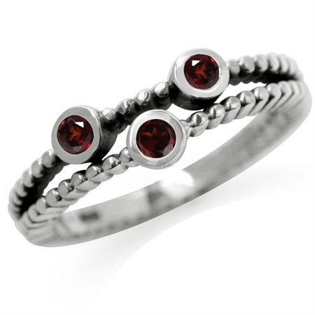 3-Stone Natural Garnet 925 Sterling Silver Stack/Stackable Ring