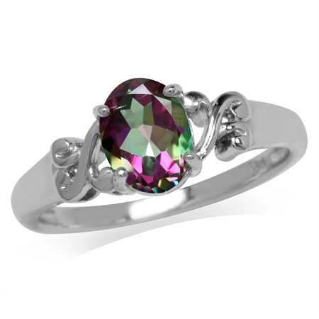 1.35ct. Mystic Fire Topaz White Gold Plated 925 Sterling Silver Victorian Style Solitaire Ring