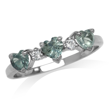 3-Stone Heart Shape Simulated Color Change Alexandrite 925 Sterling Silver Ring