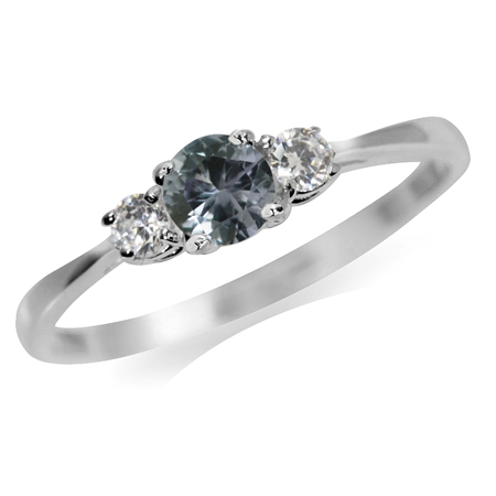 Petite Simulated Color Change Alexandrite & White CZ 925 Sterling Silver Promise Ring