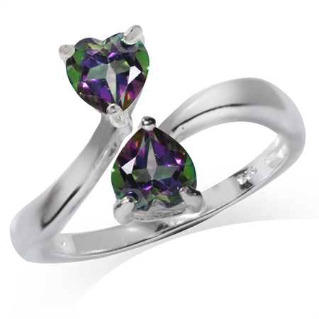 1.08ct. Heart Shape Mystic Fire Topaz 925 Sterling Silver Bypass Ring