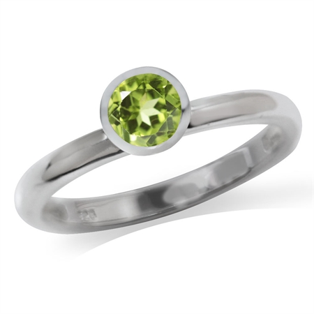 Natural Peridot White Gold Plated 925 Sterling Silver Solitaire Stack/Stackable Ring