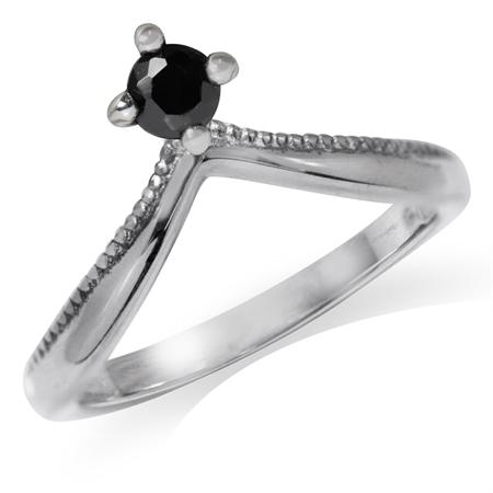 Black CZ 925 Sterling Silver V-Shape Stack/Stackable Ring