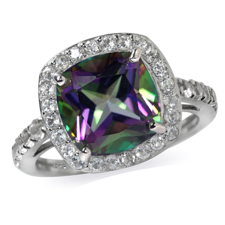 4.89ct. Mystic Fire Topaz White Gold Plated 925 Sterling Silver Cocktail Ring