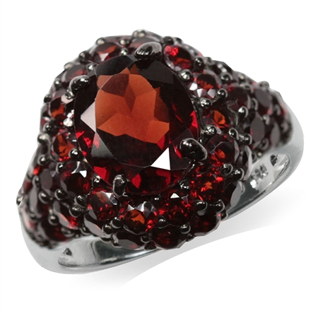 6.01ct. Natural Garnet Black Rhodium Plated 925 Sterling Silver Cluster Cocktail Ring