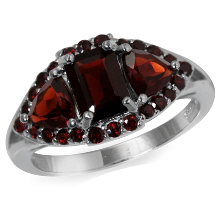 2.77ct. Natural Garnet White Gold Plated 925 Sterling Silver Cluster Cocktail Ring