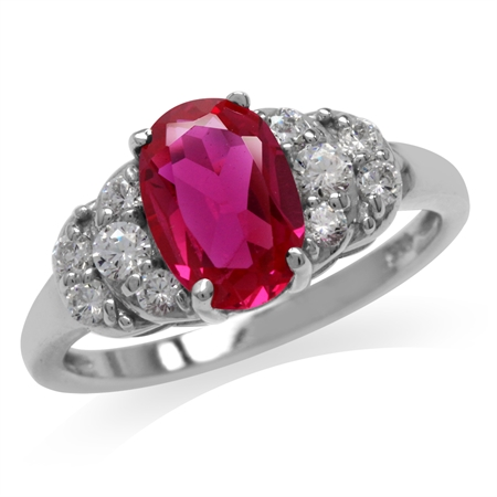 Simulated Ruby White Gold Plated 925 Sterling Silver Engagement Ring