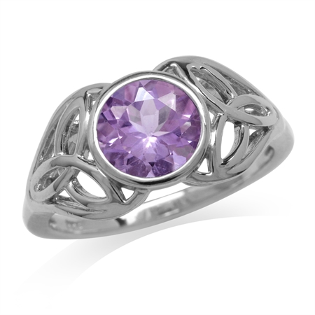 1.66ct. Natural Amethyst 925 Sterling Silver Triquetra Celtic Knot Ring