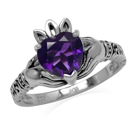 1.74ct. Natural African Amethyst 925 Sterling Silver Claddagh Ring