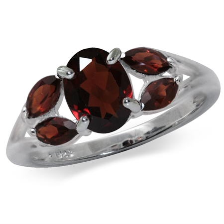 2.17ct. Natural Garnet 925 Sterling Silver Cluster Cocktail Ring