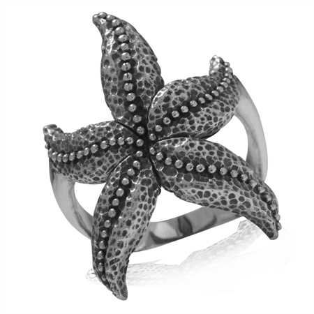 925 Sterling Silver Starfish/Sealife Casual Ring