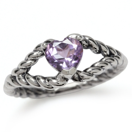 Natural Heart Shape Amethyst 925 Sterling Silver Rope Band Ring