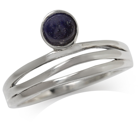 Natural Lapis 925 Sterling Silver 3-Line Minimalist Casual Ring