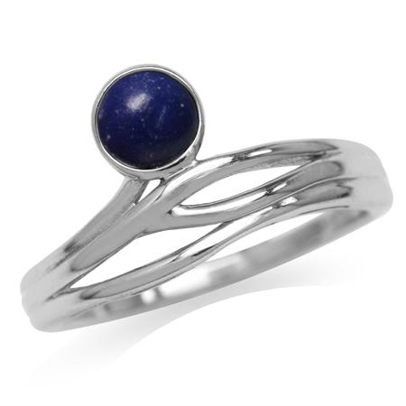 5MM Genuine Round Shape Blue Lapis 925 Sterling Silver Minimalist Modern Wavy Ring