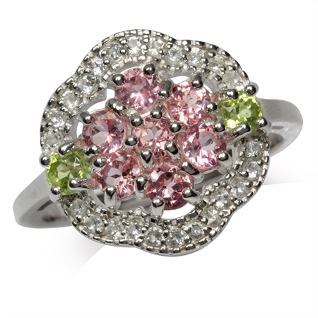 Natural Tourmaline, Peridot & Topaz White Gold Plated 925 Sterling Silver Cluster Cocktail Ring