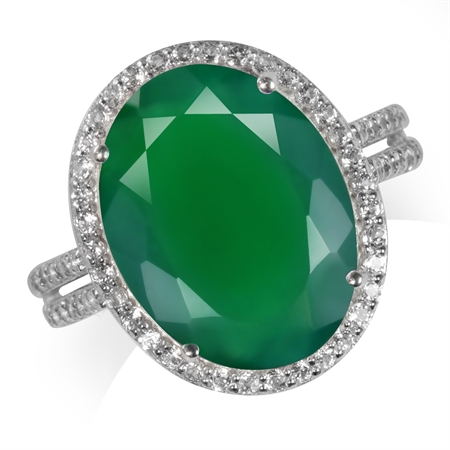 HUGE 7.78ct. Natural Emerald Green Agate & Topaz White Gold Plated 925 Sterling Silver Ring