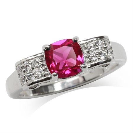 Synthetic Ruby White Gold Plated 925 Sterling Silver Engagement Ring