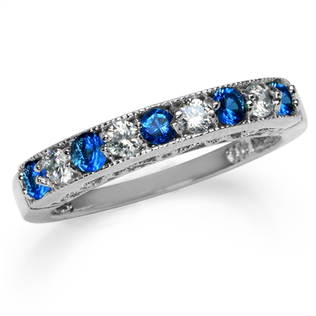 Petite Sapphire Blue & White CZ Gold Plated 925 Sterling Silver Journey Ring