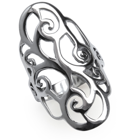 34MM 925 Sterling Silver Filigree Swirl & Spiral Ring