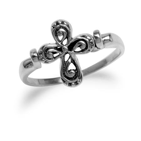 925  Sterling Silver Spinning Southwest Filigree Cross Revolving Ring