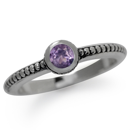 Natural Amethyst 925 Sterling Silver Stack/Stackable Bali/Balinese Style Ring