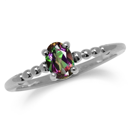Mystic Fire Topaz 925 Sterling Silver Stack/Stackable Solitaire Ring