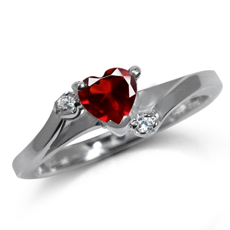 Heart Shape Simulated Ruby & White CZ 925 Sterling Silver Engagement Ring