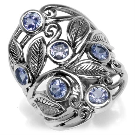 1.5ct. Genuine Tanzanite 925 Sterling Silver Filigree Leaf Ring