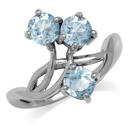 1.68ct. 3-Stone Geuine Blue Topaz 925 Sterling Silver Vine Inspired Ring