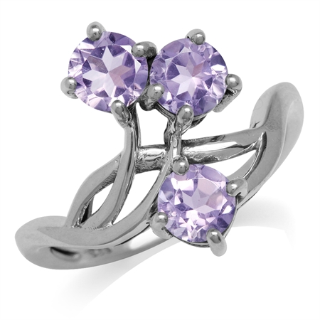1.44ct. 3-Stone Natural Amethyst 925 Sterling Silver Vine Inspired Ring